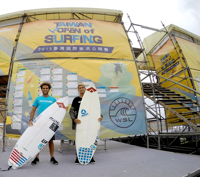Gabriel Farias e Alan Donato disputam o Taiwan Open Of Surfing